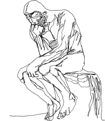the thinker, contour line drawing, an architects impetus